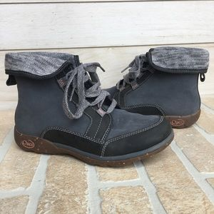 Chaco Barbary Boots Castlerock Gray Cuff Lace Up 7